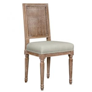 Linen Upholstered Cushion oak dining chair with rattan back
