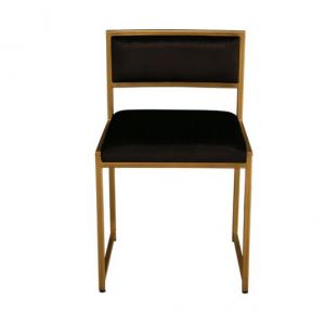 sleek frame with a Polished Brass finish with black velvet upholstery side chair