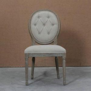French white linen color oak linen round back chair for event wedding use