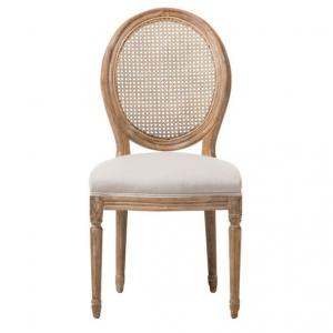 Adelia French Cottage Weathered Oak and Beige Dining Side Chair, Round Cane Back