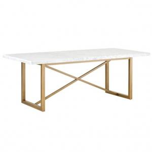 Carrera Marble dining Table features a lustrous brushed gold base