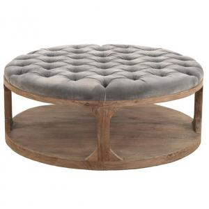 Marie French Country Round Grey-Blue Tufted Wood Coffee Table