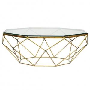 Octagon Cocktail Table, Polished Brass