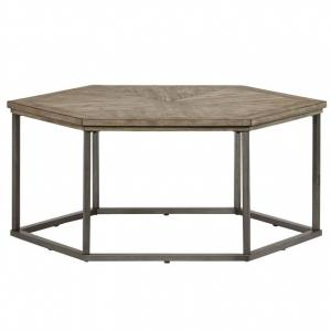 Combined with a metal frame in a dark gray gunmetal color coffee table