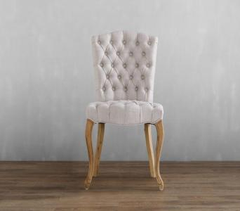French antique button tufted linen color oak linen chair for event wedding use