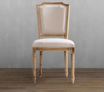French oak frame linen with rectangleback  good quality dining chair