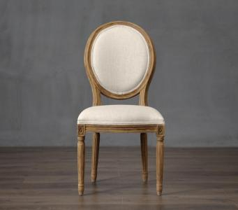 Customizable backrest pattern antique French style solid oak wood button dining chair
